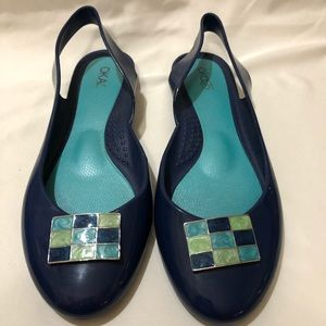 Oka-B Sling Back Navy Blue Flats Sandals
